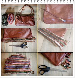 bolso, customizar, tunear, transformar, reciclar, hilos de lana, diys