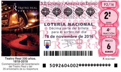 Sorteo del jueves 19 de noviembre en la lotería nacional