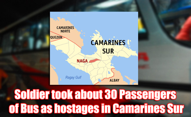 Soldier took about 30 Passengers of Bus as hostages in Camarines Sur