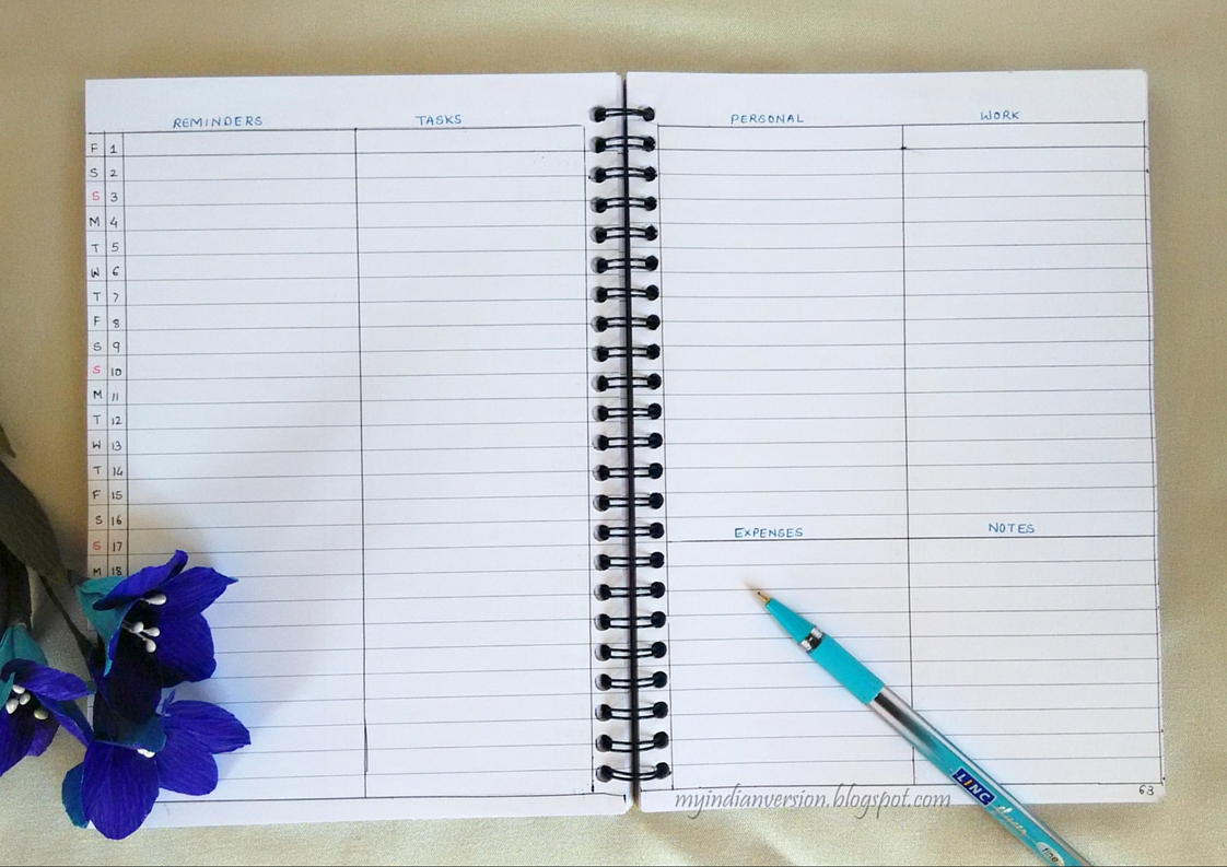 My Indian Version: BULLET JOURNAL – Monthly Layout Ideas (Part 1)