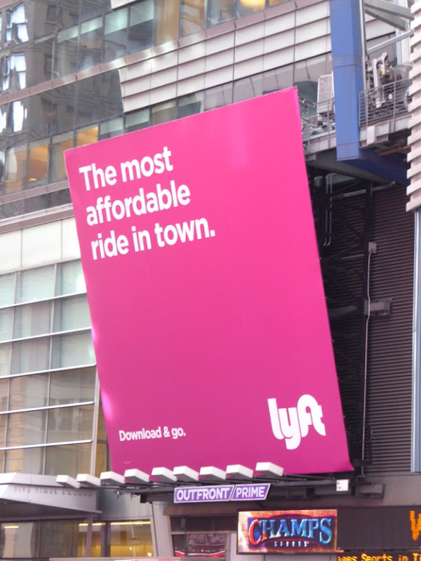 Lyft most affordable ride billboard Times Square NYC