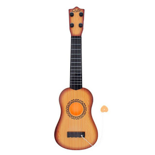 Children's Guitar 4 Strings Musical Develop Simulation Toys with Picks Brown