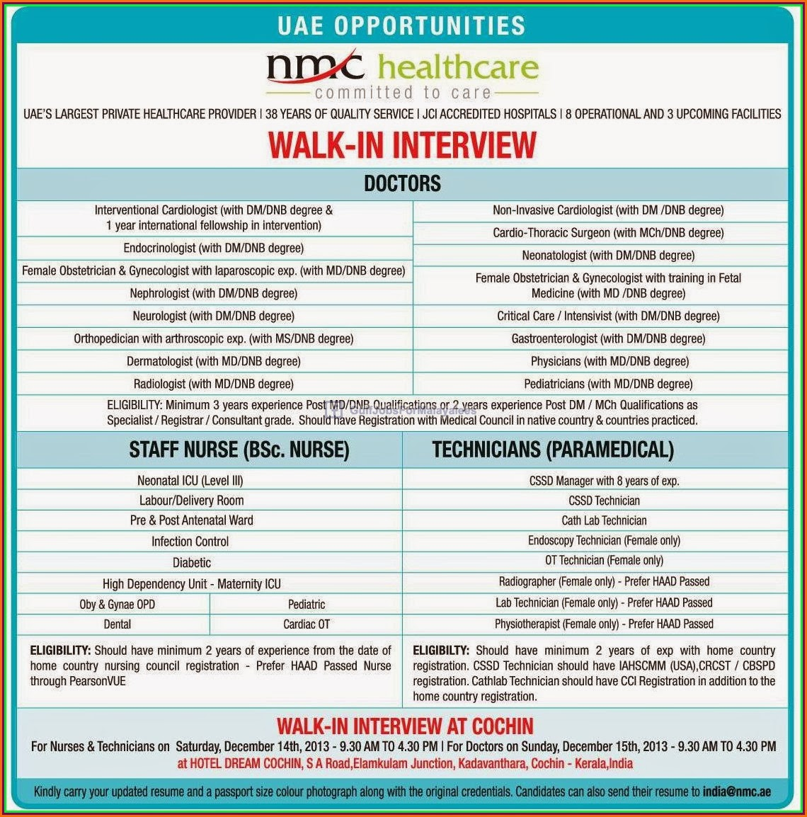 Walk In Interview For UAE ~ Gulf-Jobs-Malayalees