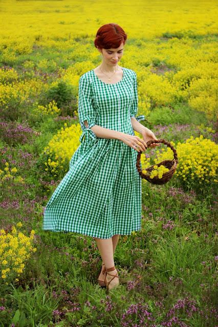 SheIn Green White Gingham Sundress