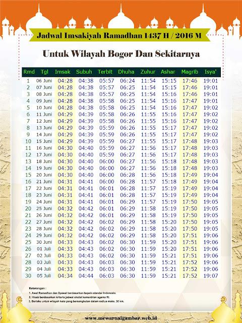 Jadwal Imsakiyah Bogor 2016 1437 H