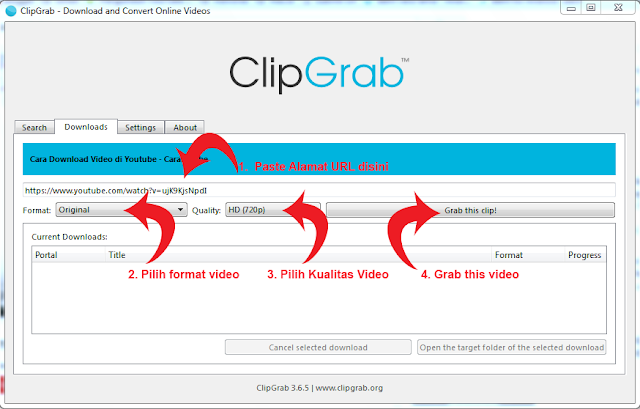 Cara Download Video di Youtube - ClipGrab