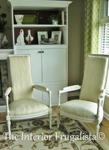 Vintage High Back Throne Arm Chairs After makeover
