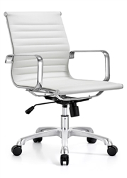 White Leather Conference Chair with Ribbed Back