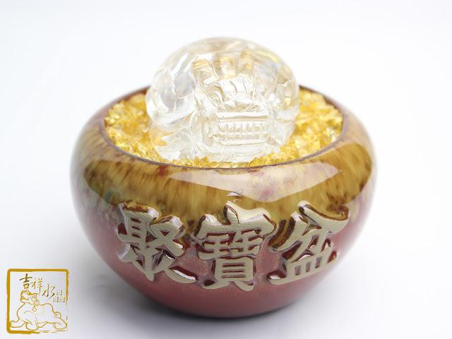 白水晶龍龜聚寶盆