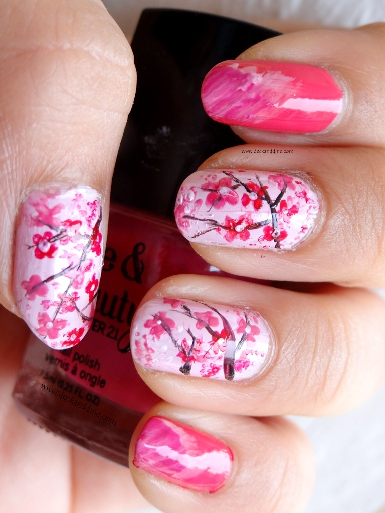 Red Cherry Blossom Nail Art | www.imgkid.com - The Image ...