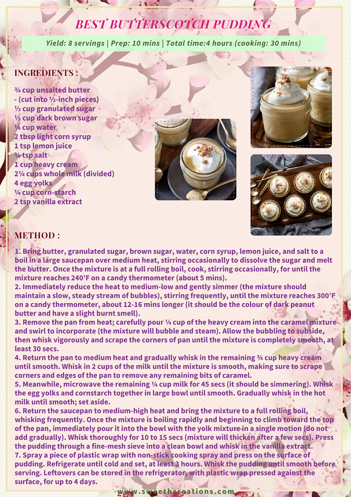 BEST BUTTERSCOTCH PUDDING RECIPE