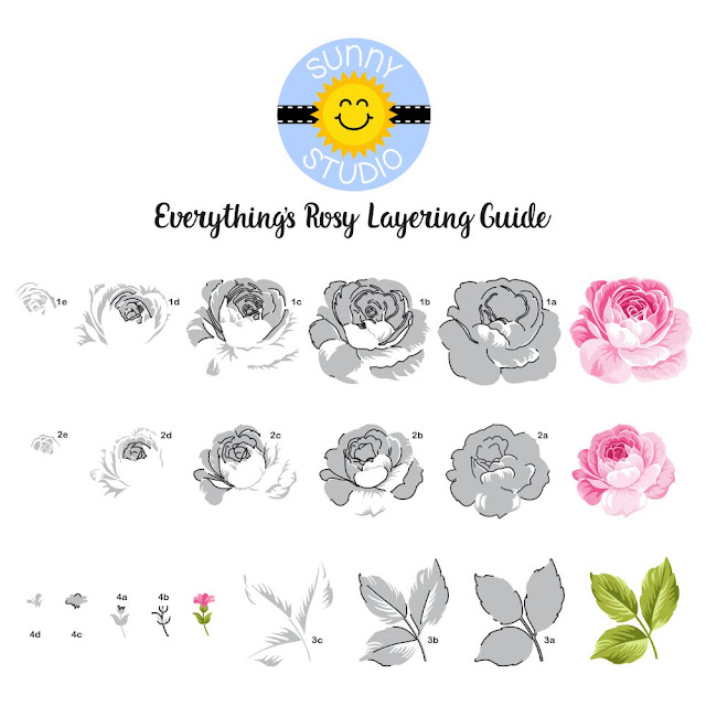 Sunny Studio Stamps: Everything's Rosy Layered Rose Layering Guide