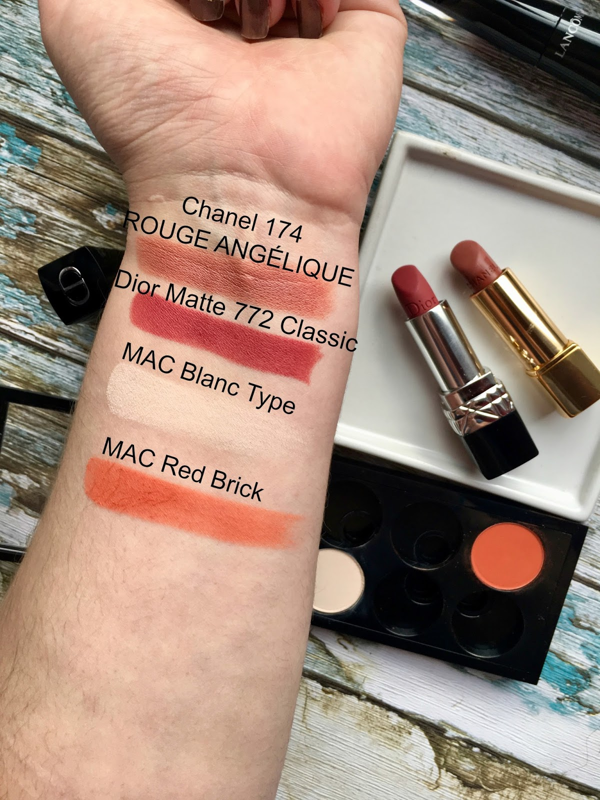 Chanel 174 Rouge Angelique Dior Matte 772 Classic Swatches