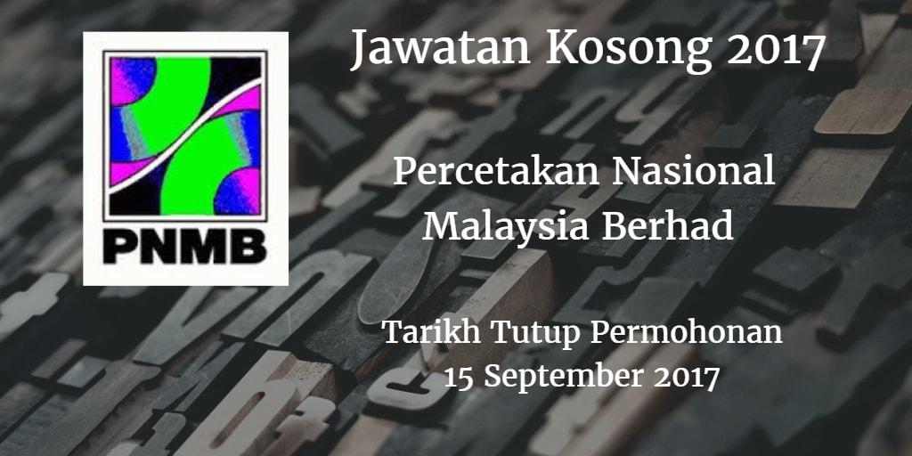Jawatan Kosong PNMB 15 September 2017