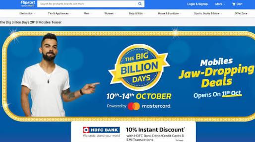 Flipkart Big Billion Days Sale 10th-14th October 2018 Best Offers List: Upto 90% Off Mobile Deals + Extra 10% HDFC Discount