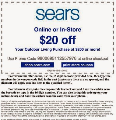 Today's top Sears coupon: $5 Off $50 In-store And Online. Get 49 Sears coupons and free shipping for December. RetailMeNot, the #1 coupon destination.