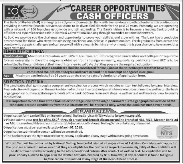 Cash Officers Jobs in BOK Jobs 2018