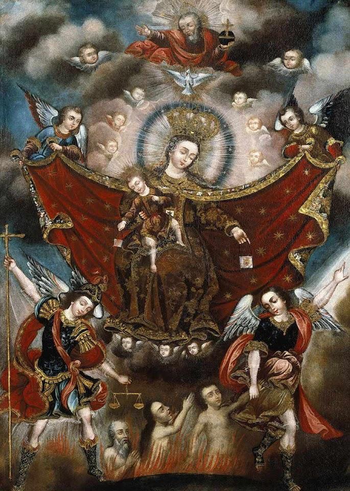 Nossa Senhora do Carmo tirando almas do Purgatório. Até grandes santos podem ter passado por ele, para pagar alguma culpa. Se até eles passaram é porque o homem tem tendências para o mal.