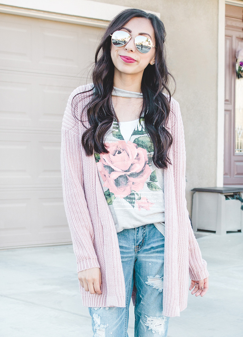 blush cardigan distressed denim sunglasses close up
