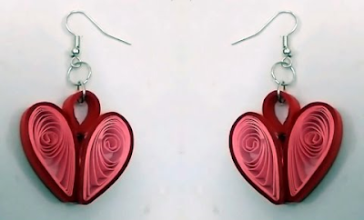small handmade heart shape quilling earring -quillingpaperdesigns