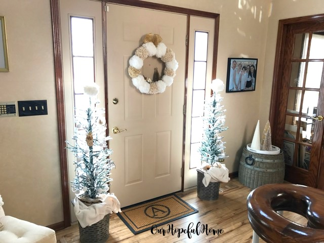 DIY pom pom garlands wreaths foyer doormat monogram