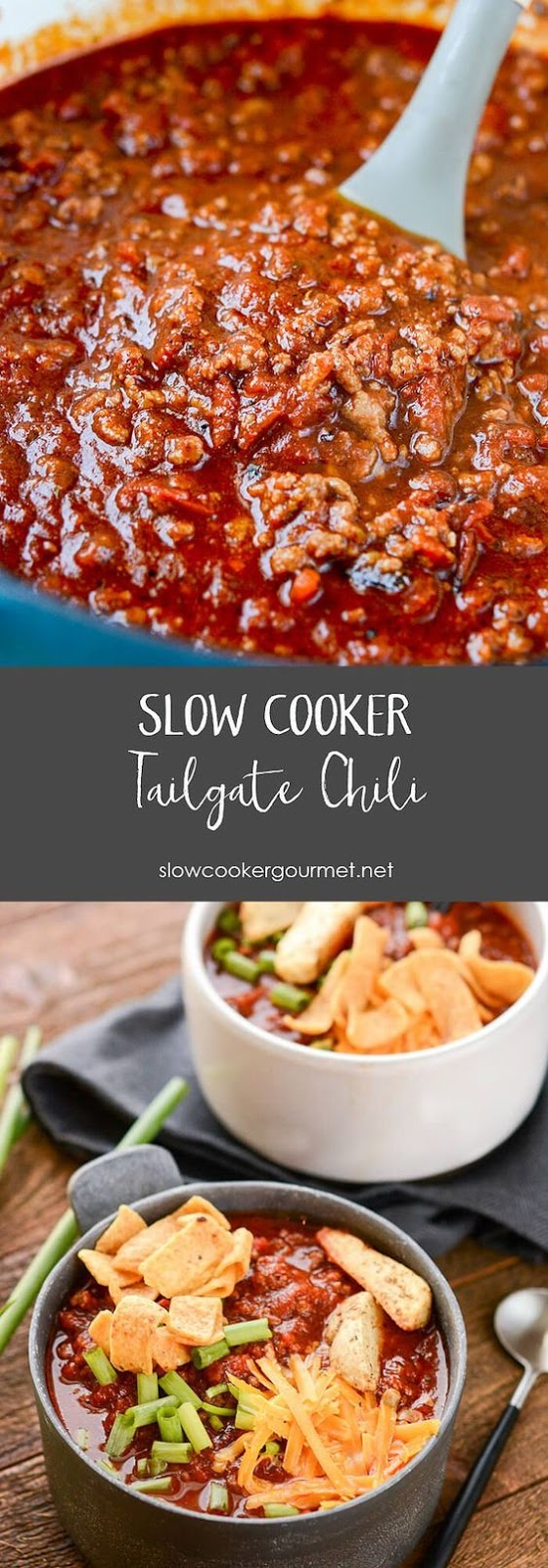 Slow Cooker Tailgate Chili #MAINCOURSE #AMERICAN #SLOWCOOKER