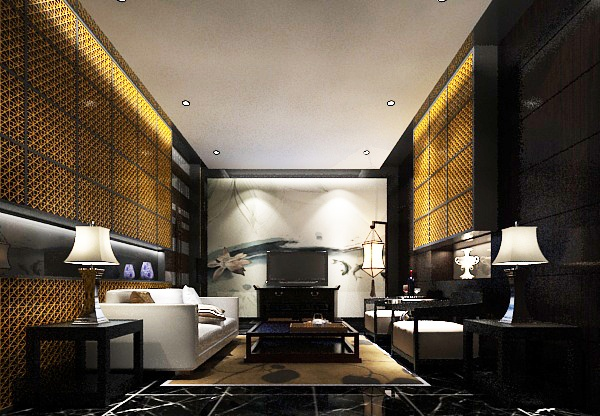Modern Chinese style living room model free 3ds max