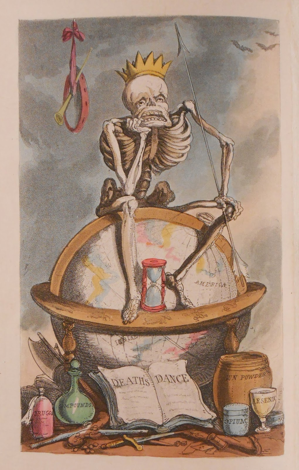 A detailed, color illustration of a crowned skeleton, slumped in a seated position on a globe.