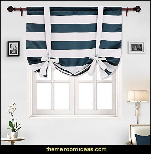 Navy Blue Striped Blackout Curtains Rod Pocket Nautical Navy and Greyish White Striped Curtains