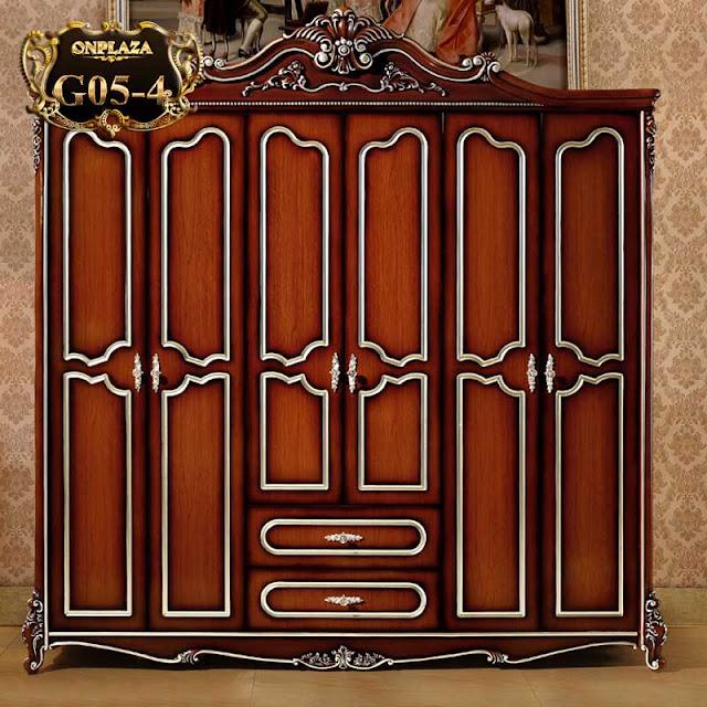 Tủ quần áo bằng gỗ sồi mang phong cách hoàng gia sang trọng G05 – 4.