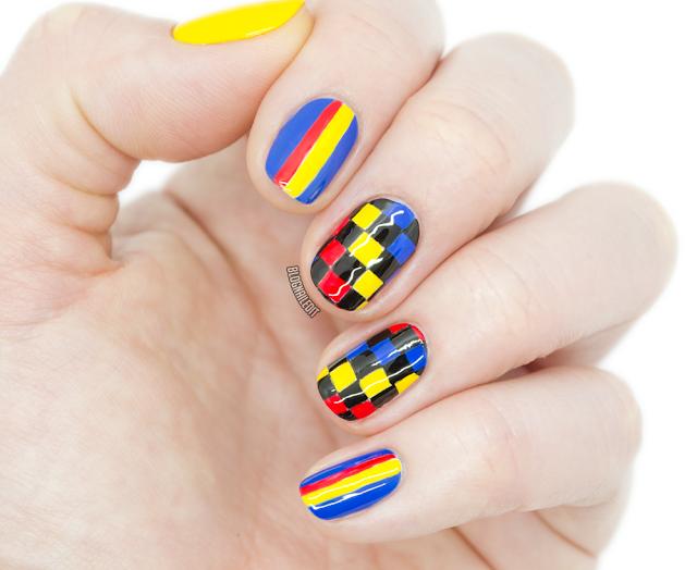 Checker and stripe nail art
