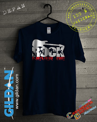 Baju Kaos DISTRO Desain Rock Never Die Warna Biru Dongker