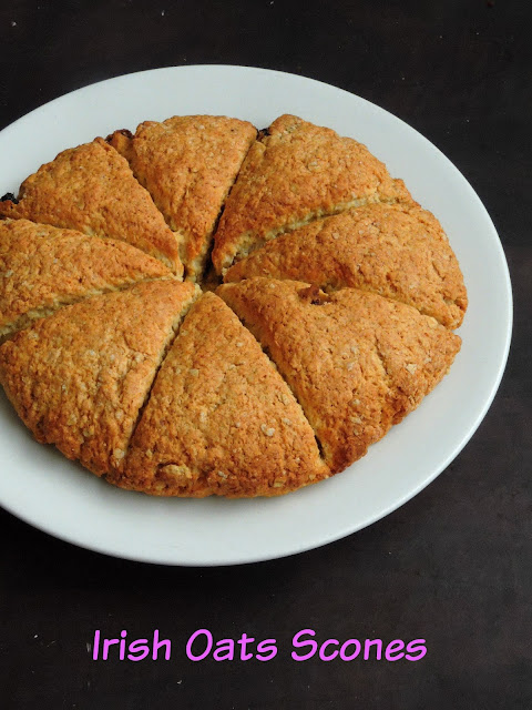 Irish Oats Scones, Eggless Oats Scones