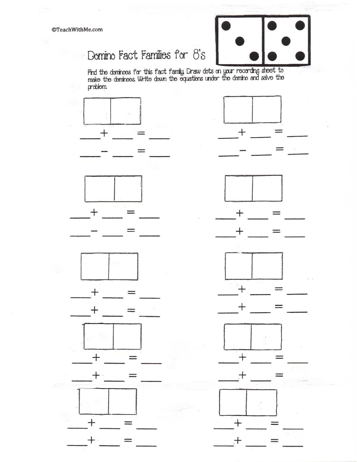New 950 Fact Family Worksheets Dominos