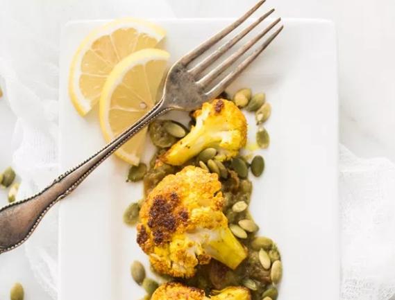 Roasted Cauliflower Green Curry