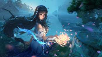 Beautiful, Fantasy, Girl, Lotus, Flower, 4K, #4.3105