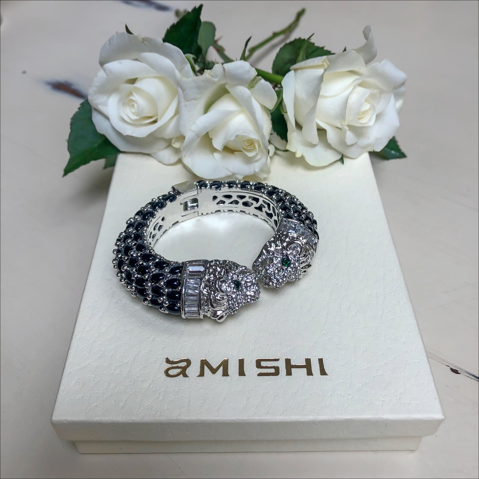 my midlife fashion, amishi silver luxury black lion statement cuff