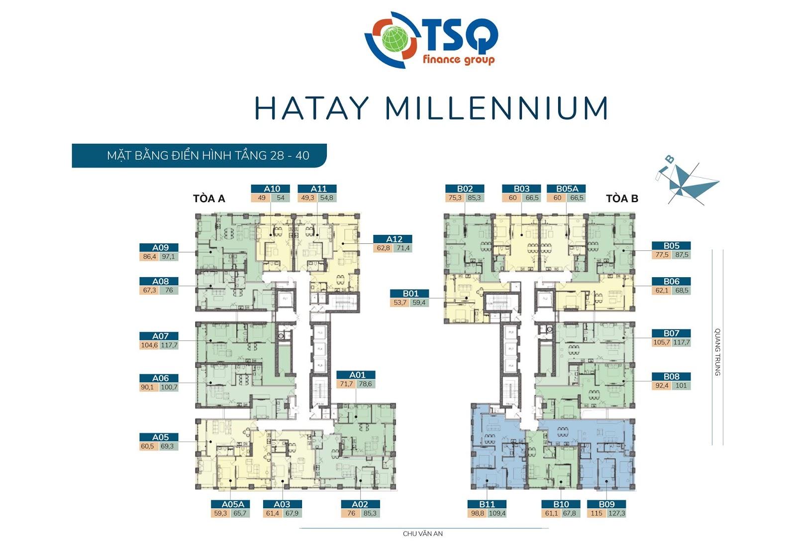 Mặt bằng thiết kế Hatay Millennium tầng 28-40