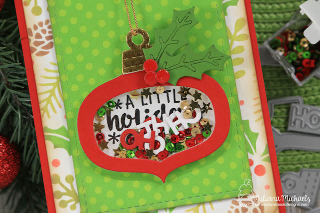 Holiday Cheer Shaker Card by Juliana Michaels featuring Newton's Nook Designs Ornamental Wishes Stamp Set and Ornament Shaker Die Set
