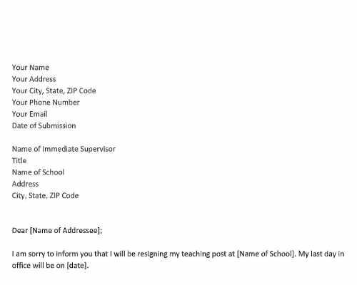 Resignation Letter for Teacher