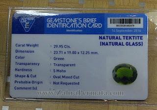 Batu Permata Green Tektite + Memo - ZP 962