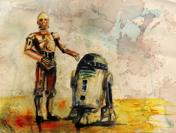 Water colour of C3PO and R2D2.