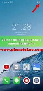 Cara menampilkan persentase baterai Realme C1