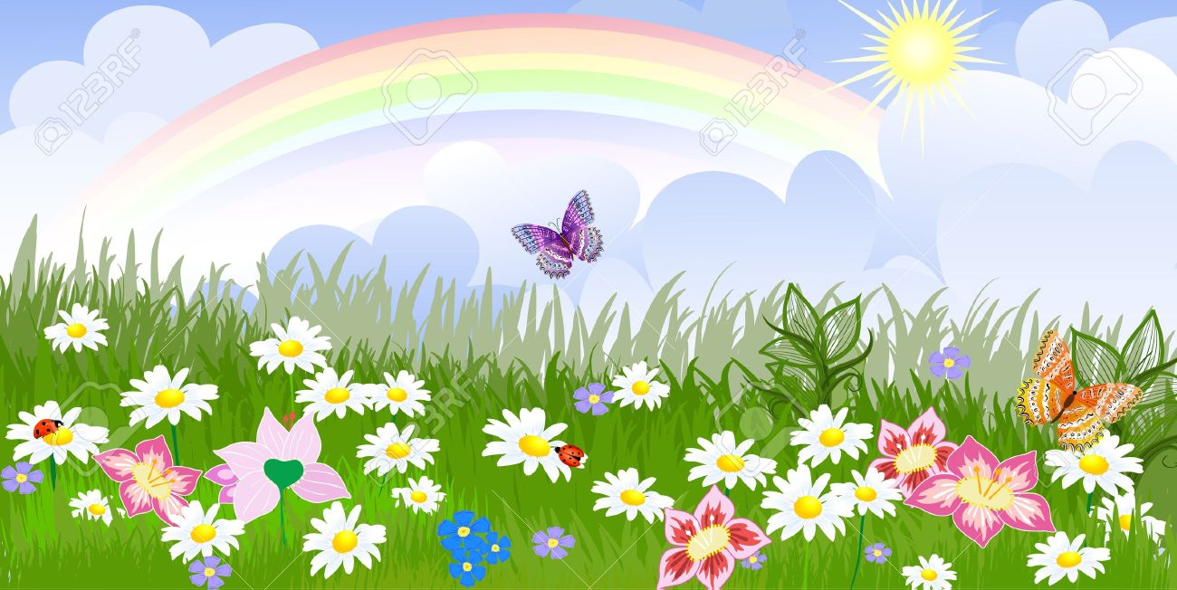 Beautiful Flower Garden Cartoon Images