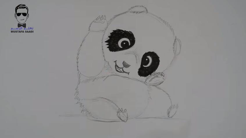 تعليم رسم دب الباندا بالرصاص والالوان مع الخطوات للمبتدئين تعلم