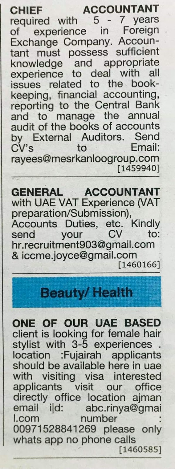 Required Chief Accountant & General Accountant for UAE Local Hiring
