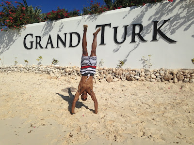 The most common pose I do - a handstand (Grand Turk)