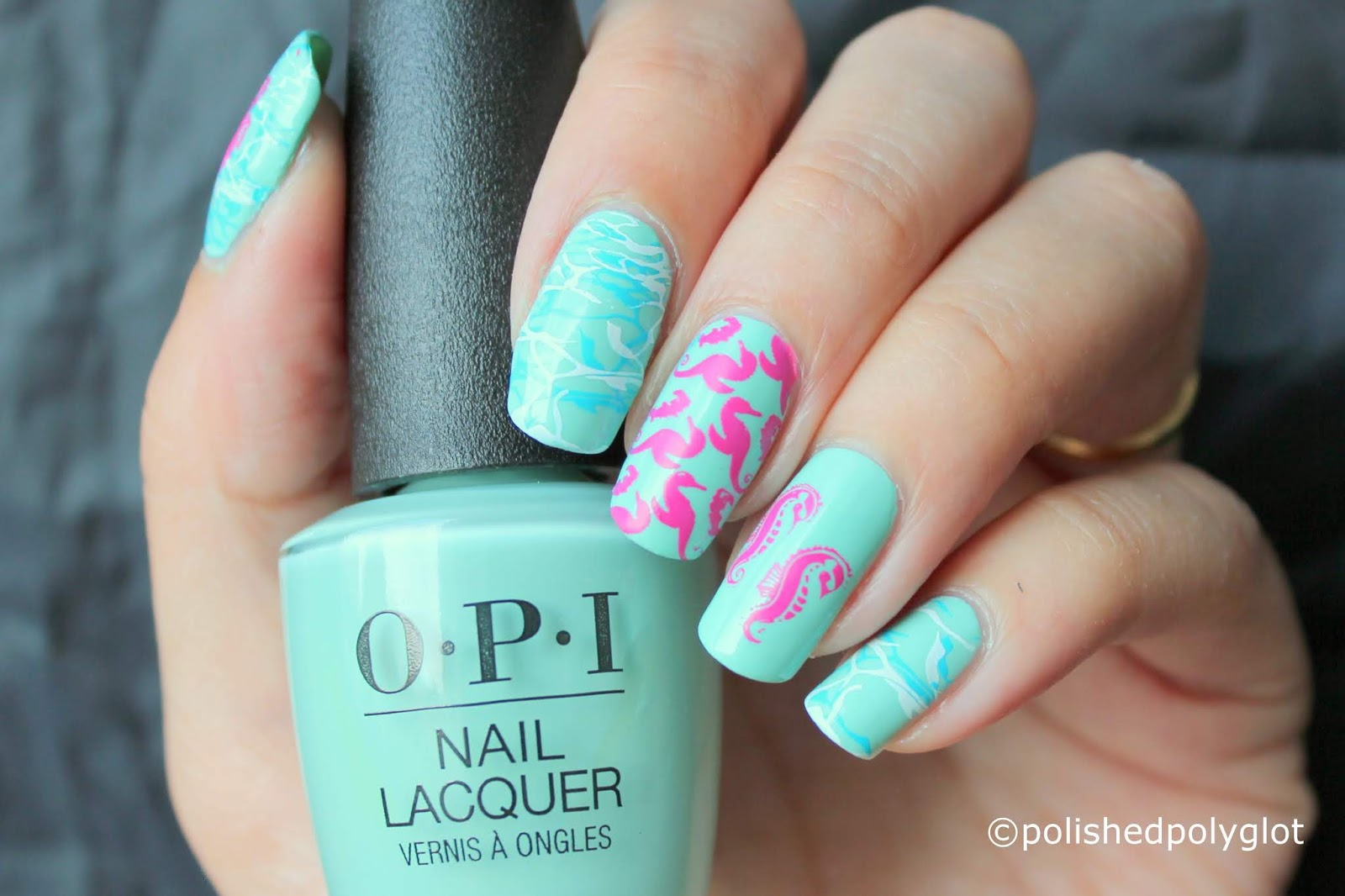 Nail Art Summer Manicure With Seahorses Nail Crazies Unite