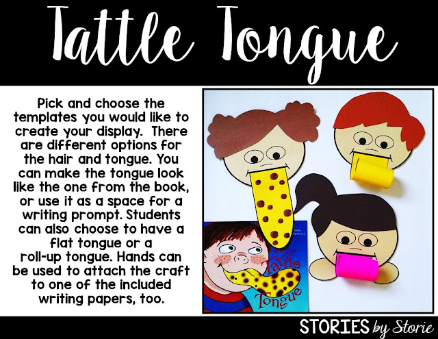After reading A Bad Case of Tattle Tongue, students can complete this craft activity. Students can choose a flat tongue or add a rolled-up tongue. There are writing activities to accompany the craft, too!