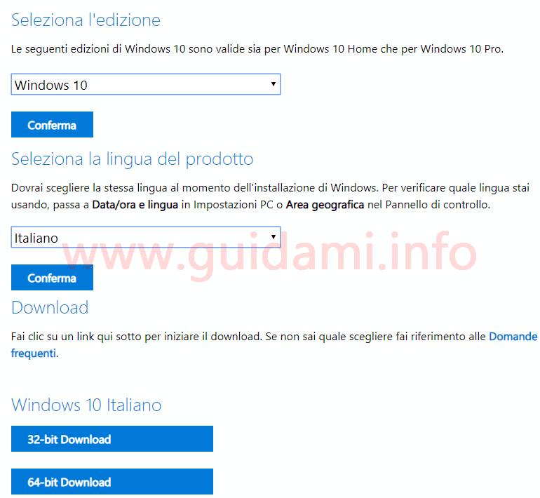 Procedura per il download diretto dell'immagine ISO di Windows dal sito ufficiale di Microsoft